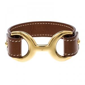 Hermes Pavane Brown Leather Gold Plated Bracelet L