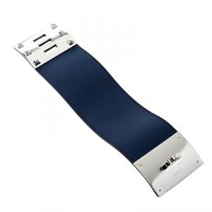 Hermes Kelly Dog Extreme Blue Leather Palladium Plated Wide Bracelet S