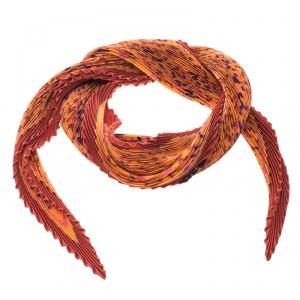 Hermes Orange Les Sources De La Vie Printed Plisse Silk Diamond Scarf