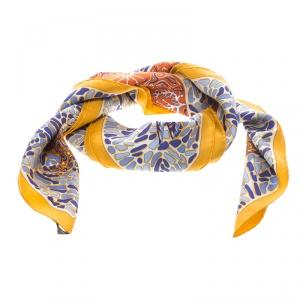 Hermes Multicolor La Legende du Poisson Corail Printed Silk Square Scarf