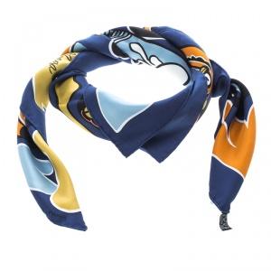 Hermes Navy Blue Lilanga Printed Silk Square Scarf