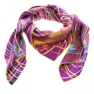 Hermes Purple L'art Du Temari Printed Silk Square Scarf
