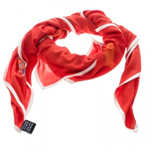 Hermes Red Mors and Filets Printed Silk Jersey Square Scarf