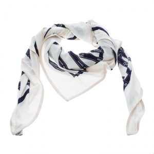 Hermes Off White Bolduc Ribbon Printed Silk Jersey Square Scarf