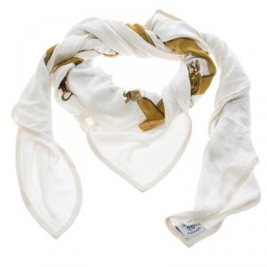 Hermes Cream Mors et Filets Printed Silk Jersey Scarf