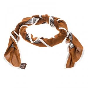 Hermes Brown and Orange Quadrige Printed Silk Jersey Scarf
