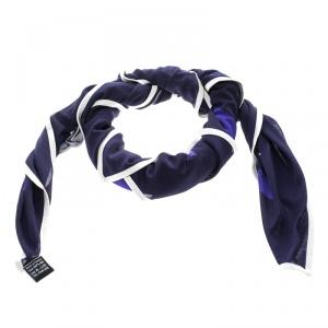 Hermes Navy Blue Mors et Filets Printed Silk Jersey Scarf