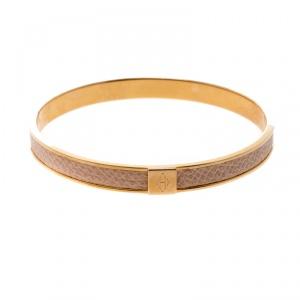 Hermès Kawaii 7 Pink Leather Rose Gold Tone Bangle Bracelet