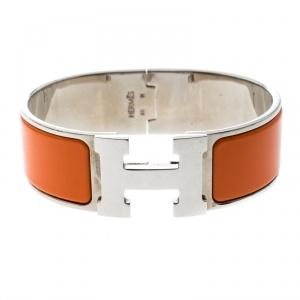 Hermes Clic Clac H Orange Enamel Palladium Plated Wide Bracelet GM