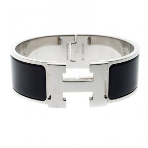 Hermes Clic Clac H Navy Blue Enamel Palladium Plated Wide Bracelet PM