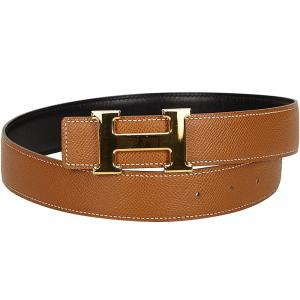 Hermes Brown H Logo Constance Belt