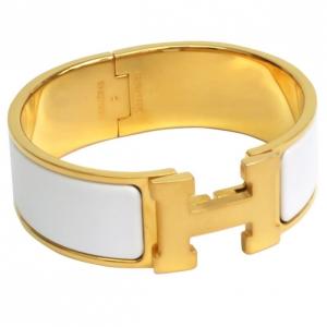 Hermes Clic Clac H Wide White Enamel Gold-Plated Bracelet PM
