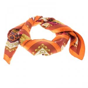 Hermes Multicolor Brins D'or Printed Silk Square Scarf