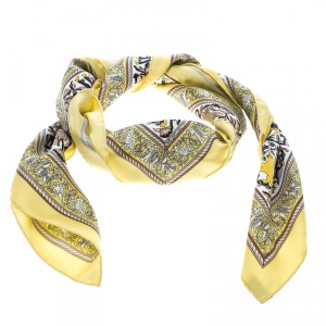 Hermes Chasse En Inde Yellow and White Printed Silk Square Scarf
