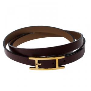 Hermes Hapi 3 Burgundy Leather Gold Plated Wrap Bracelet M