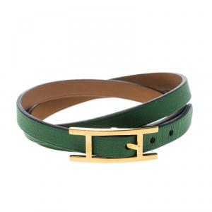 Hermes Hapi 3 Green Leather Gold Plated Wrap Bracelet S