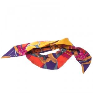Hermes Multicolor Grand Manege Fleuri Printed Silk Twilly Scarf