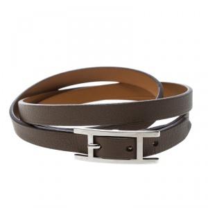Hermes Hapi 3 Etoupe Leather Palladium Plated Wrap Bracelet S