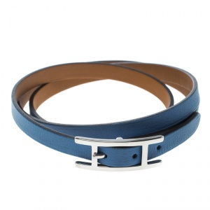 Hermes Hapi 3 Blue Brighton Leather Palladium Plated Wrap Bracelet M