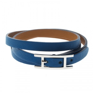 Hermes Hapi 3 Blue Leather Palladium Plated Wrap Bracelet S