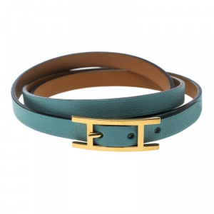 Hermes Hapi 3 Light Blue Leather Gold Plated Wrap Bracelet S