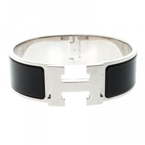 Hermes Clic Clac H Black Enamel Palladium Plated Wide Bracelet GM