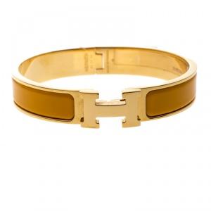 Hermes Clic Clac H Yellow Jaune Madras Enamel Gold Plated Narrow Bracelet PM