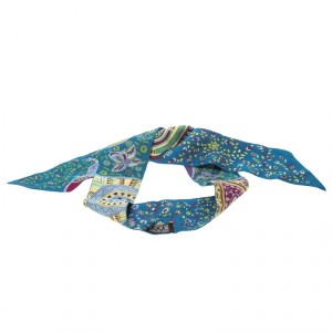 Hermes Blue Floral and Animal Printed Silk Twilly Scarf