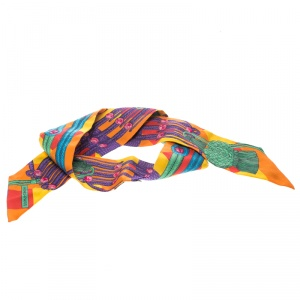 Hermes Multicolor Tassel Printed Silk Twilly Scarf