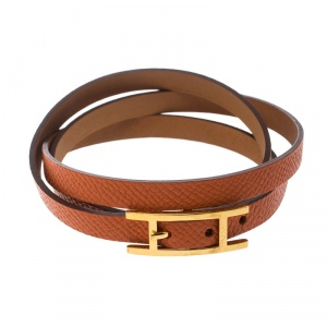 Hermes Hapi 3 Orange Leather Gold Plated Wrap Bracelet S