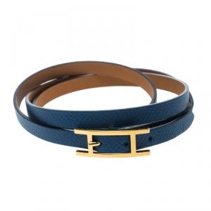 Hermes Hapi 3 Blue Leather Gold Plated Wrap Bracelet M