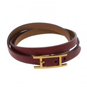 Hermes Hapi 3 Red Leather Gold Plated Wrap Bracelet S