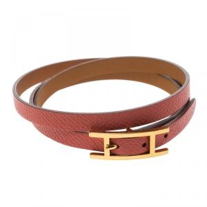 Hermes Hapi 3 Pink Leather Gold Plated Wrap Bracelet M