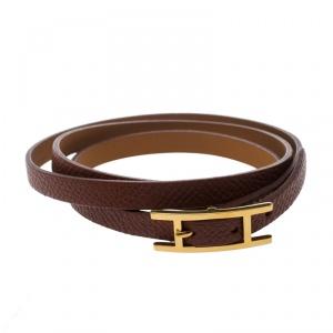Hermes Hapi 3 Brown Leather Gold Plated Wrap Bracelet M