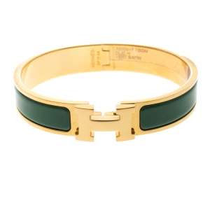 Hermes Clic Clac H Green Vert Sapin Enamel Gold Plated Narrow Bracelet GM