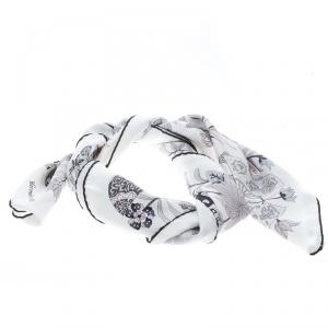 Hermes Off White Fleurs et Papillons De Tissus Printed Silk Square Scarf