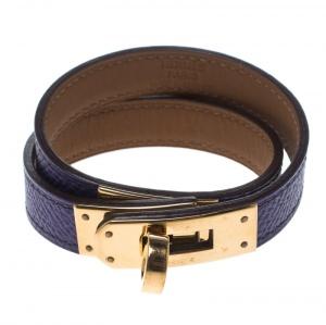 Hermes Kelly Double Tour Purple Leather Gold Plated Wrap Bracelet S