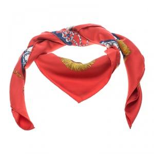 Hermes Real Escuela Andaluza Del Arte Ecuestre Red Printed Silk Square Scarf