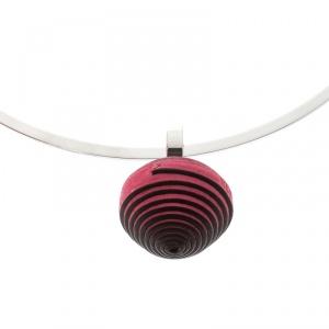 Hermes Jojoba Pink Leather Ball Steel Choker Necklace