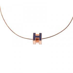 Hermes Cage d'H Purple Enamel Rose Gold Plated Pendant Necklace