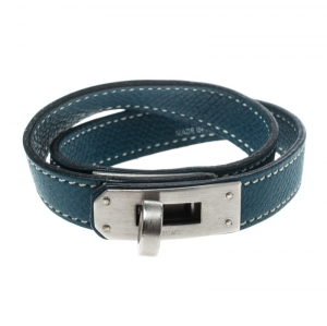 Hermes Kelly Double Tour Blue Leather Palladium Plated Wrap Bracelet
