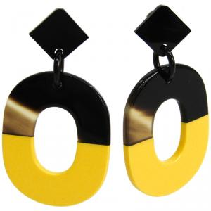 Hermes Isthme Two Tone Lacquer Buffalo Horn Drop Earrings