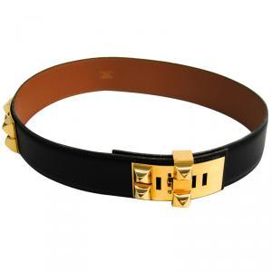 Hermes Black Leather Collier de Chien Medor Belt 65
