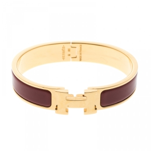 Hermes Clic Clac H Red Enamel Gold Plated Narrow Bracelet PM