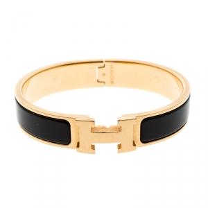 Hermes Clic Clac H Black Enameled Gold Tone Bracelet PM
