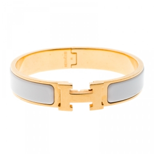 Hermes Clic Clac H Gold Tone White Enamel Narrow Bracelet PM