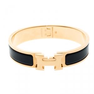 Hermes Clic Clac H Navy Blue Enamel Gold Plated Narrow Bracelet PM