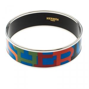 Hermes Capitales Multicolored Enamel Palladium Plated Wide Bracelet