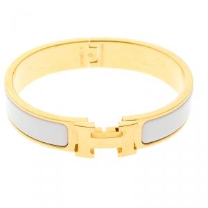 Hermes Clic Clac H White Enamel Gold Tone Narrow Bracelet PM