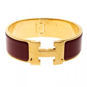 Hermes Clic Clac H Red Enamel Gold Plated Wide Bracelet GM